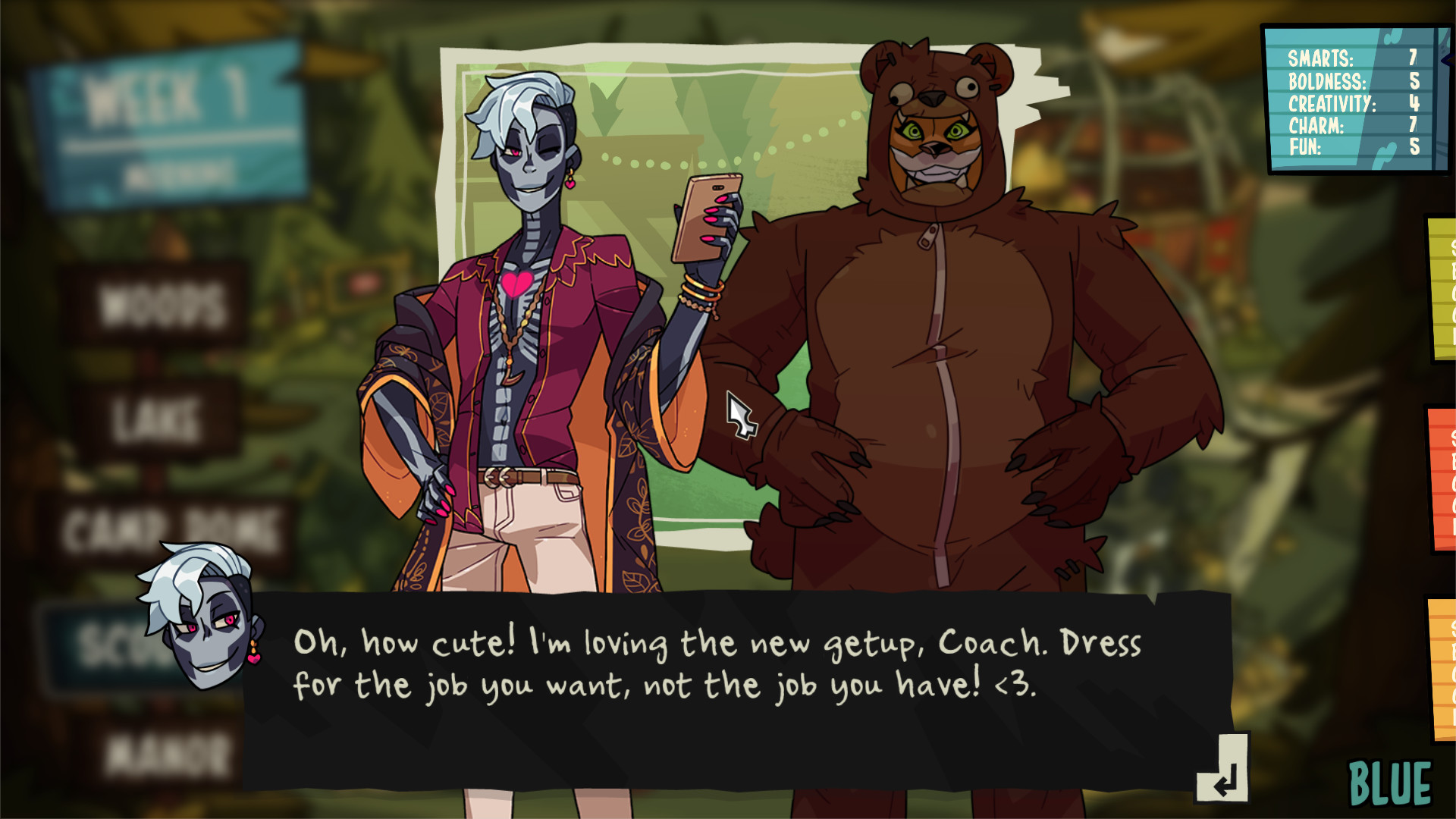 Conversation between two characters in Monster Camp