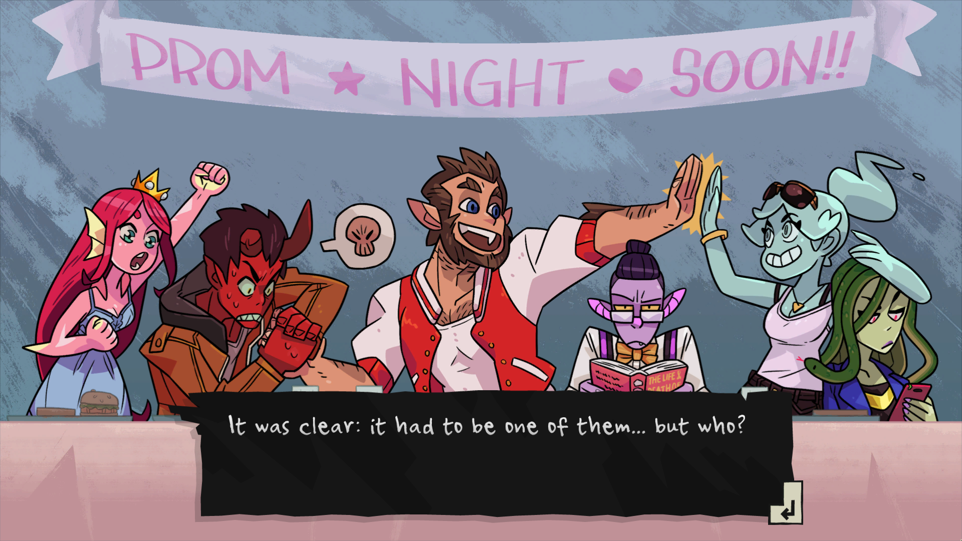 All of the various characters of Monster Prom in the game's initial introduction